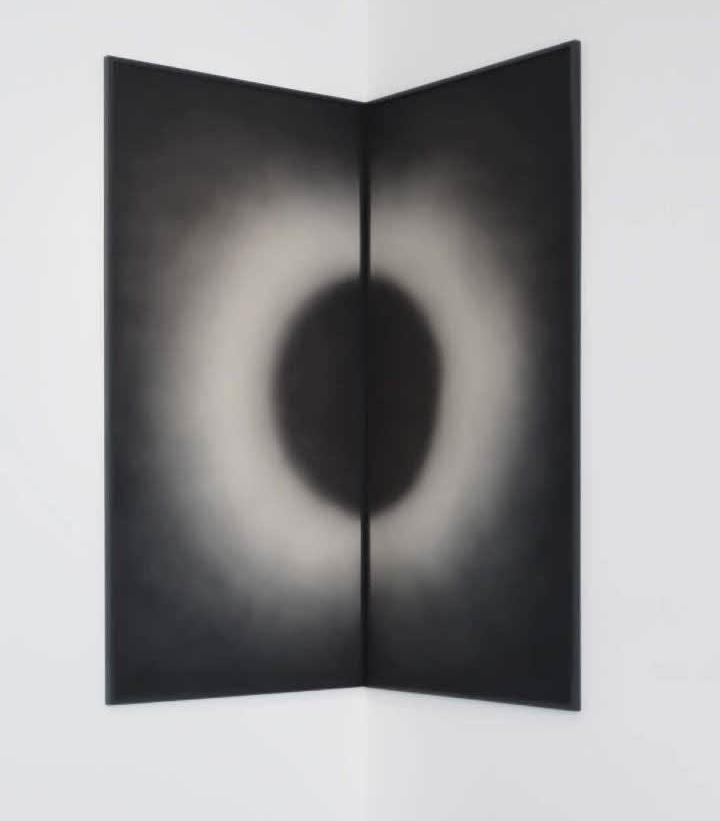 Sunoj D, Sun meeting the moon in a corner or Half cut black circle and half cut white circle in darkness
